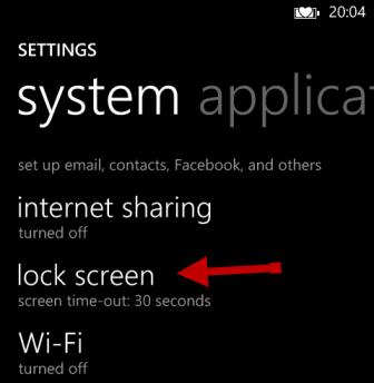 windows phone 8 lock screen settings