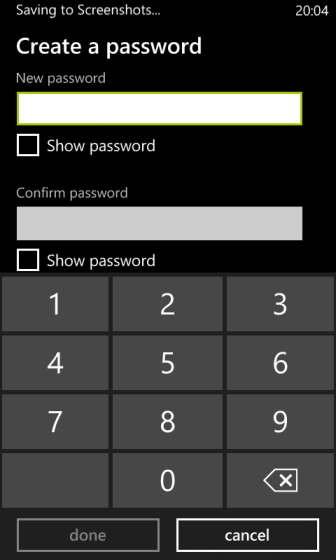 windows phone 8 create password