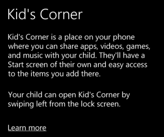 kid's corner brief introduction