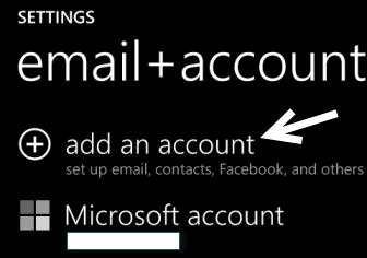 windows phone 8 add account