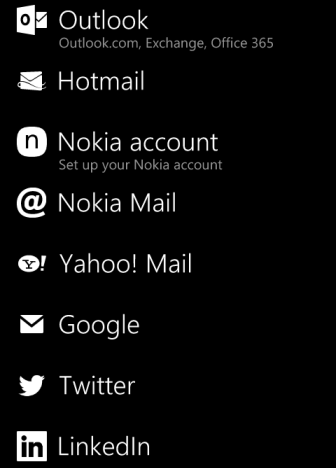 windows phone 8 supported account list