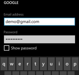 windows phone 8 add account information
