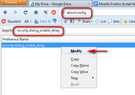 Mozilla Firefox: Disable Add-On Delay
