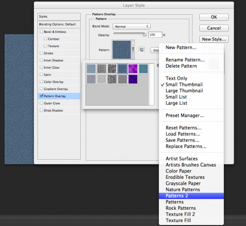 First, create a new file. Then unlock layer, add layer style, then find denim pattern