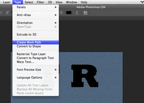 Now go back to the type layer, and go Type > Create Work Path