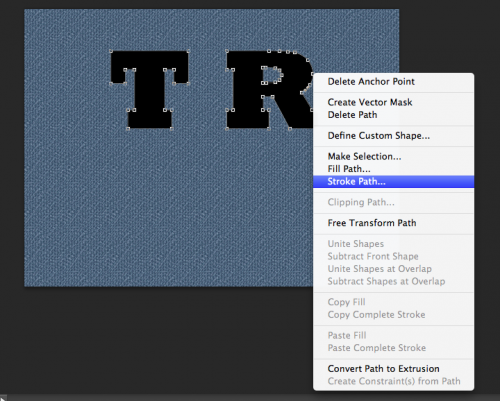 Using the pen tool select your text, then right click > stroke