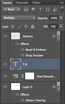 Change the text layer mode to multiply and set fill to 70%