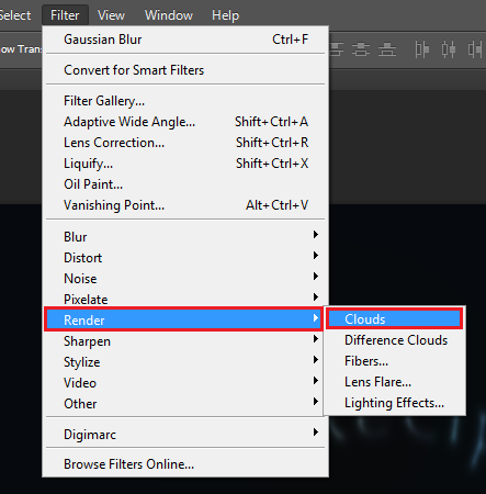 Create new layer, then go to Filter > Render > Clouds
