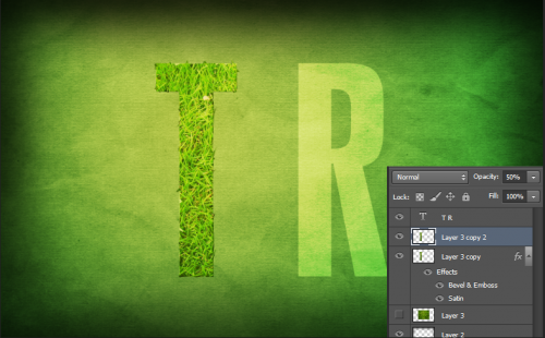 Duplicate the layer with the textured letter