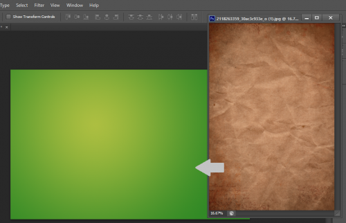 open up the grungy paper texture and place it on top of the gradient