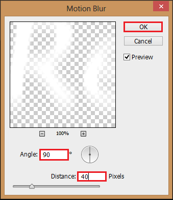 Change the angle to 90 and the distance to 40, click OK