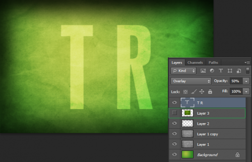 import the grass layer, and enter your text in white with an opacity of 50
