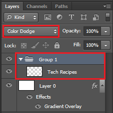 Place Text layer into a group and change the group overlay to Color Dodge