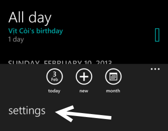 windows phone 8 calendar settings