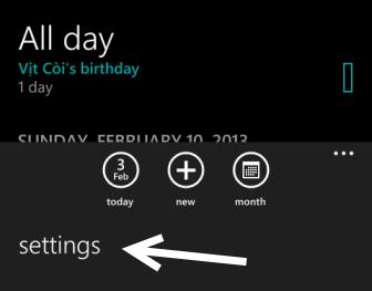 windows phone 8 calendar settings