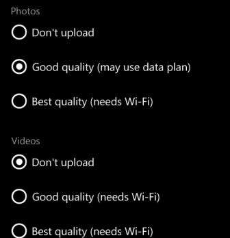 disable auto upload windowns phone 8