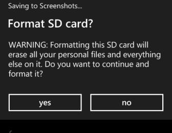 windows phone 8 format confirmation
