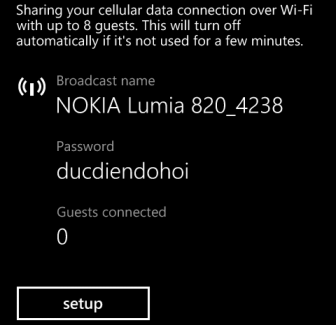 windows phone 8 configure hotspot password