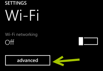 windows phone 8 advanced wifi settings