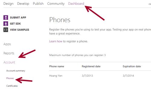 windows phone 8 developer dashboard