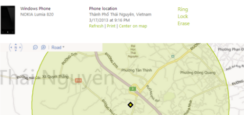 locate windows phone 8 on map
