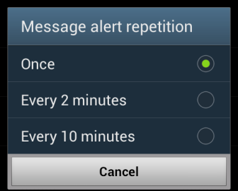 message alert repetition interval