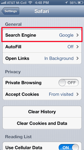 selecting a different search engine through Safari Settings