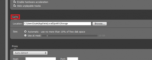 Spotify: Reduce the Amount of Hard Drive Space Used by the Cache