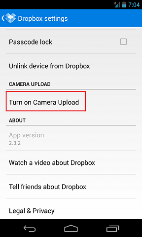 dropbox android turn on sync