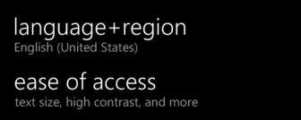 windows phone language region ease of access