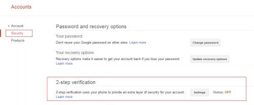 Google 2-step verification settings