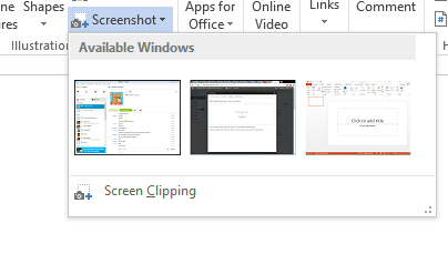 Word and PowerPoint 2013: Capture Screen and Add to Document