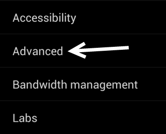android browser advanced settings