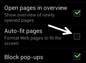 android browser auto-fit pages