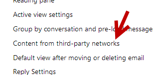 outlook content from social network