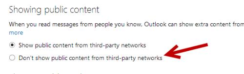 disable showing public content outlook