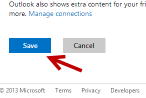 outlook save setting