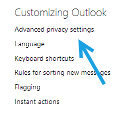 outlook privacy settings