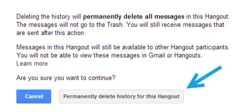 delete hangout history confirmation