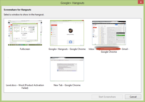 google hangout select screen share