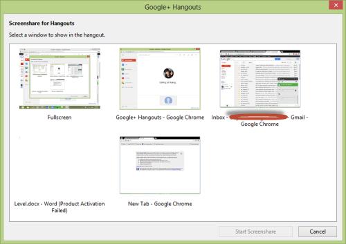 google hangouts share screen