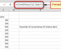 Excel count the number of occurrence excel sheet last name