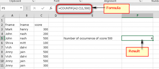 how to count letters in excel microsoft excel count the number of occurrences of a text 22266 | Excel count the number of occurrence excel sheet score 620x270
