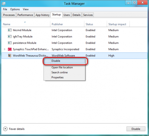 Windows 8: How  to disable startup programs in windows 8