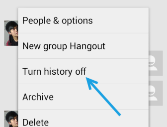 google hangouts turn history off