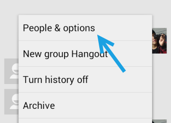 google hangouts people and options