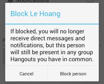 google hangouts block person confirmation