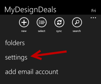windows phone 8 email settings