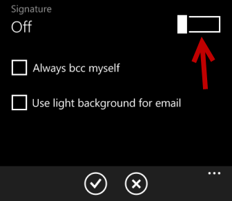 windows phone 8 turn on signature