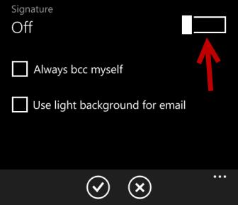 windows phone 8 turn on signature
